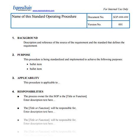 standard operating procedure template sop template