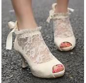 Vintage Ivory Lace Wedding Pumps ♥ Cheap Shoes