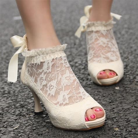 Brautschuhe Mit Spitze vintage ivory lace wedding pumps cheap wedding shoes