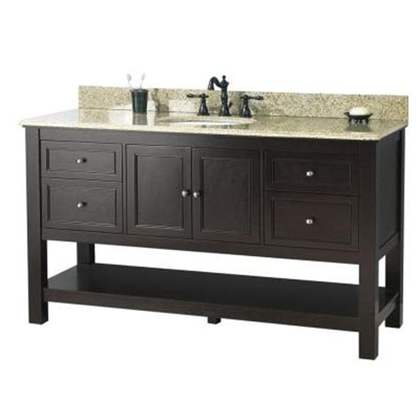 Home Depot Granite Vanity Top by Foremost Gazette 61 In Vanity In Espresso With Golden