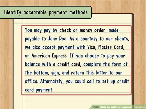 Credit Card Payment Reminder Letter How To Write A Payment Reminder 13 Steps With Pictures