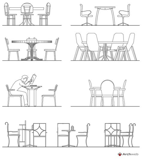 arredi 2d tables and chairs dwg drawings