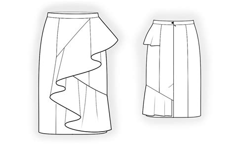Skirt With Flounce   Sewing Pattern #4214. Made to measure