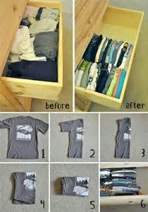 how to fold a t shirt to save space in drawers stuff