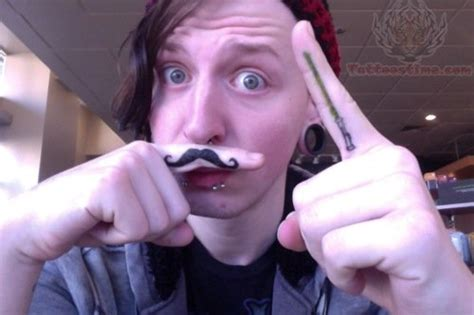 finger mustache tattoo black mustache on finger