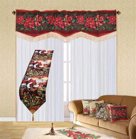15 different valance designs holiday christmas poinsettia design 60 quot x 15 quot window