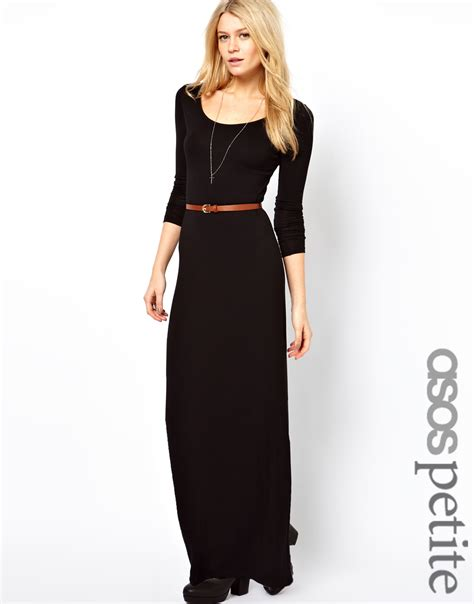 asos sleeve maxi dress with belt in black lyst