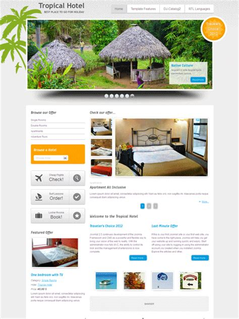 joomla template hotel free download jm tropical hotel joomla template for travel tourist guide