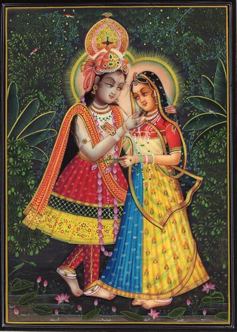 Handmade Paintings Of Radha Krishna - krishna radha indian decor painting handmade hindu deity