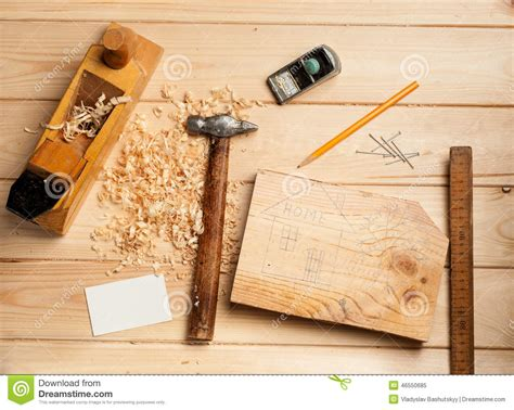 woodworking pictures joinery tools on wood table background with stock image