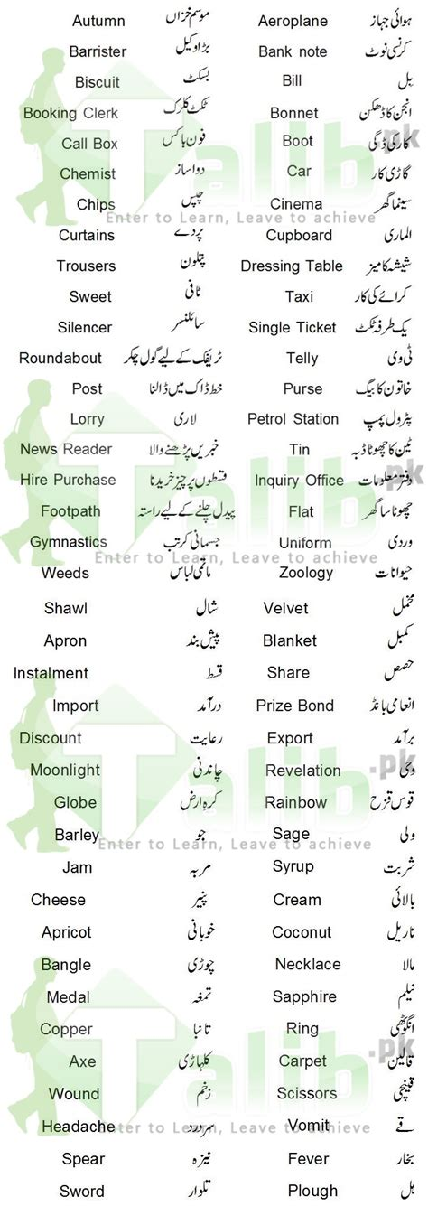 biography urdu meaning common english words used in daily life with urdu meaning
