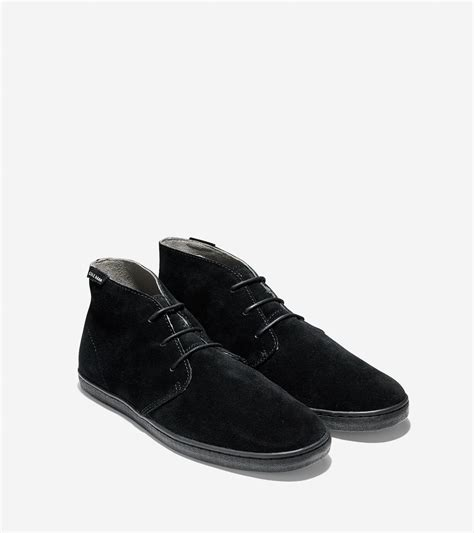 cole haan nantucket suede chukka boots in black for lyst
