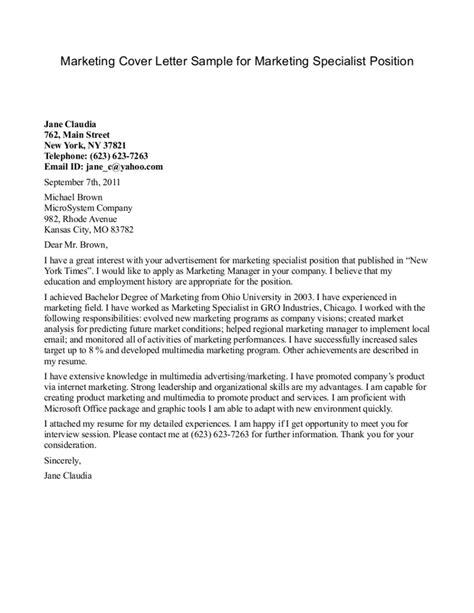 marketing specialist cover letter templates
