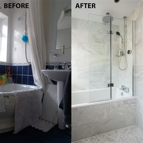 shower for small bathroom before and after from cred and dingy to an italian