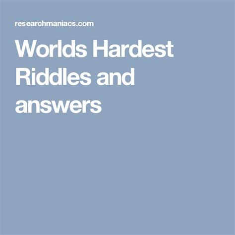 hard riddles with answers the 25 best hard riddles and answers ideas on pinterest
