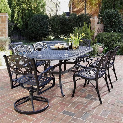 Black Patio Furniture Sets Shop Home Styles Biscayne 7 Black Metal Frame Patio Dining Set At Lowes