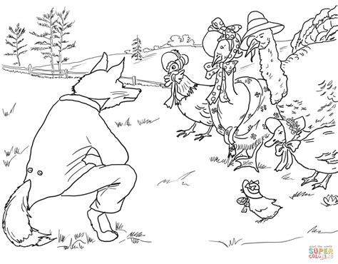 chicken licken coloring page fox invites birds to it s lair coloring page free