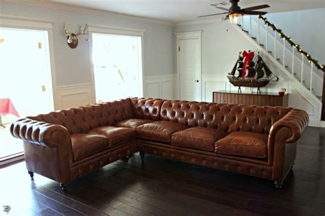 leather chesterfield sectional our new leather chesterfield sectional sofa dream book