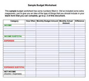 budget template pdf budget worksheet template 7 free for pdf excel