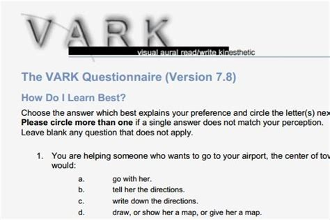 printable vark questionnaire vark questionnaire printed version 7 8 elearning pins