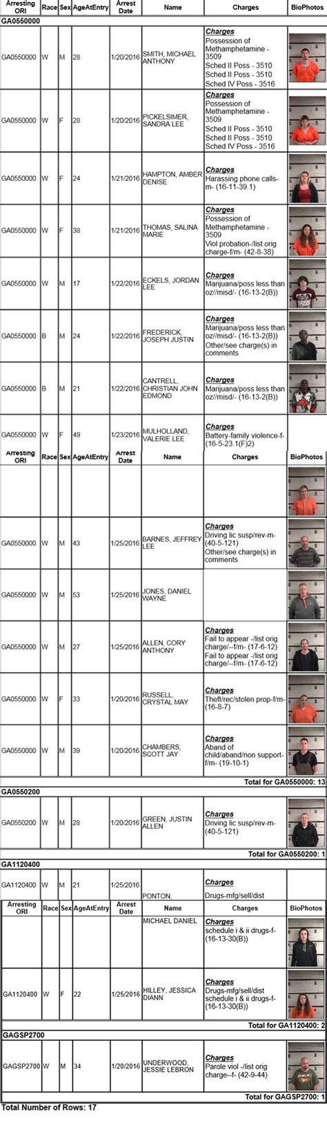 Fannin County Records Fannin County Sheriff S Office Arrest Report 1 20 To 1 25 Myinforms
