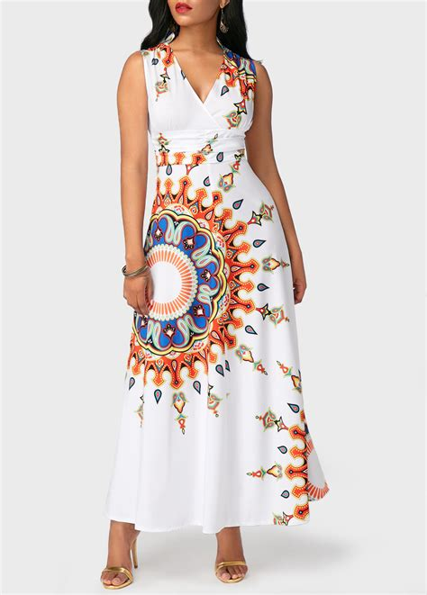 Maxi New Imah 2in1 Recomended high waist v neck printed maxi dress rosewe usd 33 60