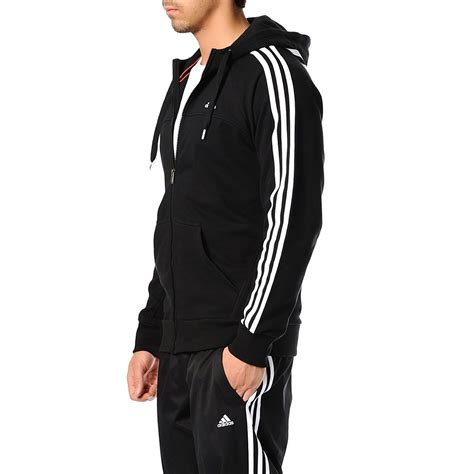Hoodie Stripe Sweater by Adidas Performance Mens Zip 3 Stripe Hoodie Sweater