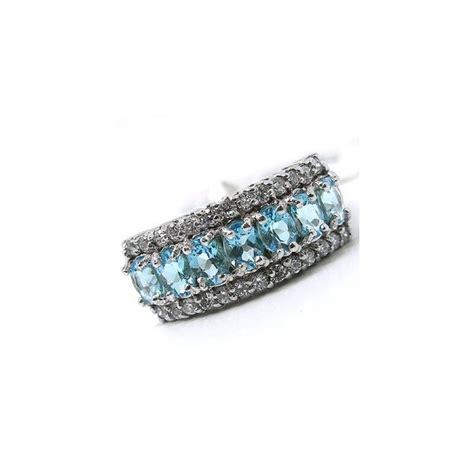 3 carat blue topaz wedding ring band for