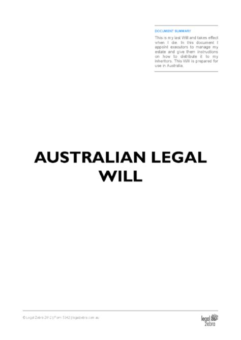 free australian will template australian templates advice zebra