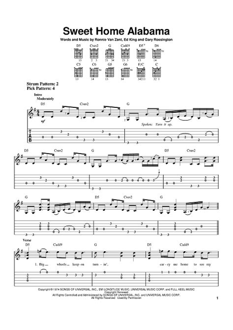 the sweethome sheets guitar guitar tablature for sweet home alabama guitar