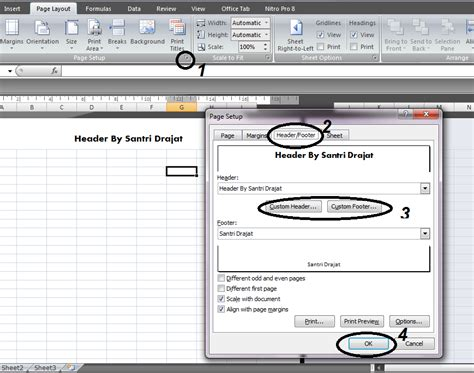 Membuat Header Di Ms Excel | cara membuat header dan footer di ms excel santri drajat