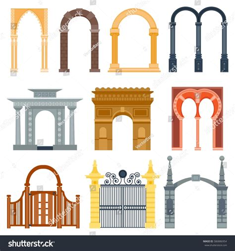 classic venetian window shapes create architecturally arch design architecture construction frame classic stock
