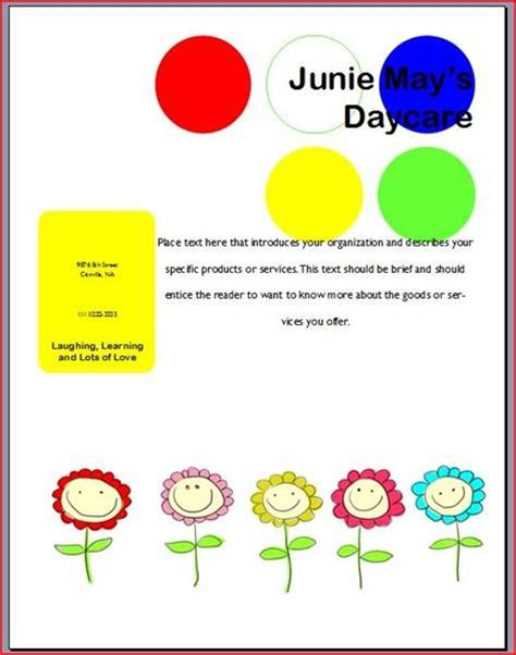 search results for free printable day care flyers