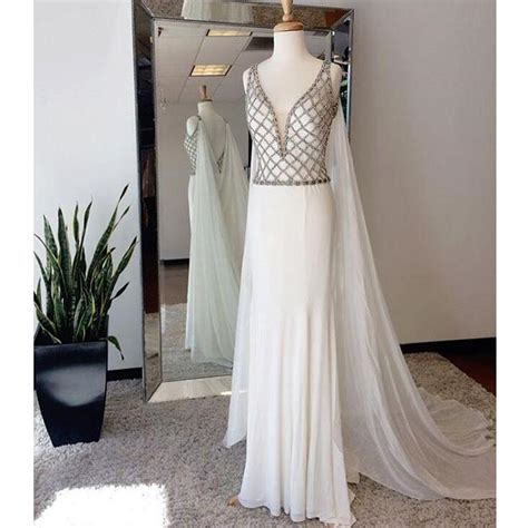 affordable white beaded top  neck evening long prom