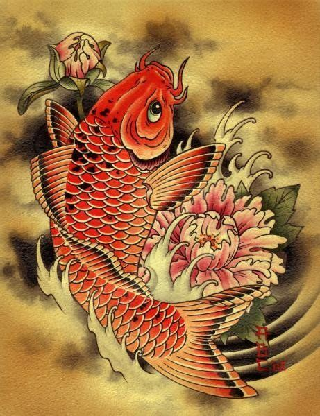 tattoo japanese carp carp by aaron cox asian gold fish koi pond tattoo canvas