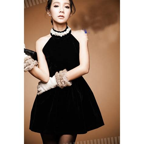 Dress Hitam dress hitam korean mini halter neck aksesoris slim fit