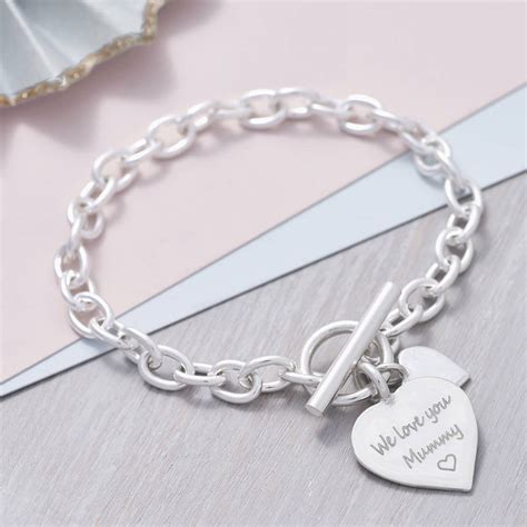 124 Charm Silver personalised solid sterling silver bracelet by