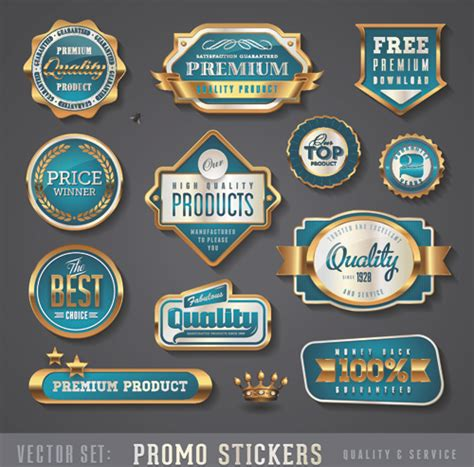 design label sticker golden promo stickers labels vector set free vector in