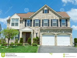 Free Cottage Floor Plans front brick faced single family house suburban md stock