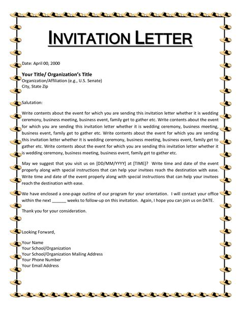 canada invitation letter template it is important to the basics of the letter of