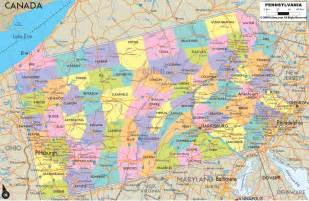 detailed political map of pennsylvania ezilon maps