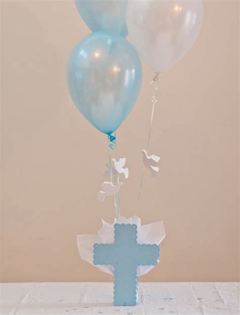 baptism centerpieces boys communion decorations cross dove