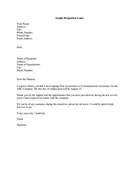 Resume Exles Templates How To Write A Resigning Letter From The Job Sle Of Resignation Letter From Letter Template