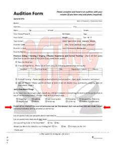 sample of audition forms fill online printable
