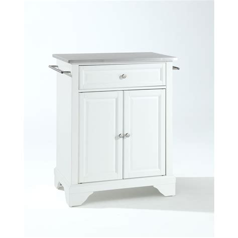 white kitchen island with stainless steel top lafayette stainless steel top portable kitchen island in white finish crosley