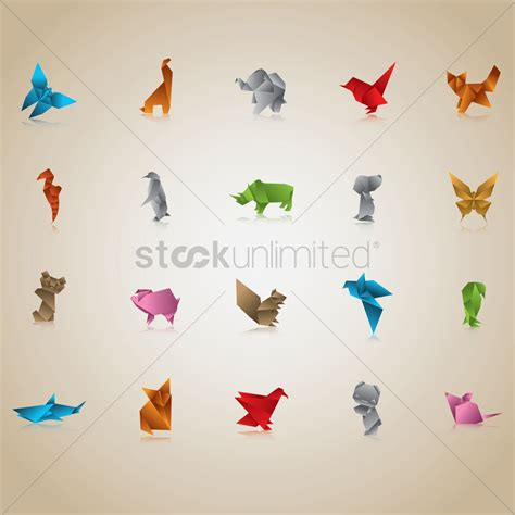Origami Graphic - free set of origami animals and birds vector image