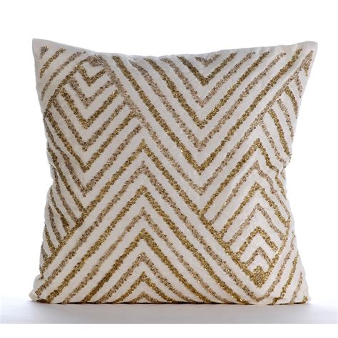 Ivory Pillow by Ivory Decorative Pillow Cover Square Sequins Chevron Zig