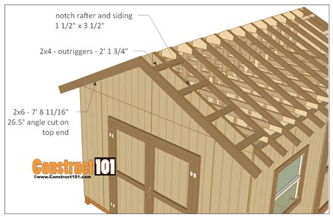 timber outrigger roof 12x16 shed plans gable design construct101