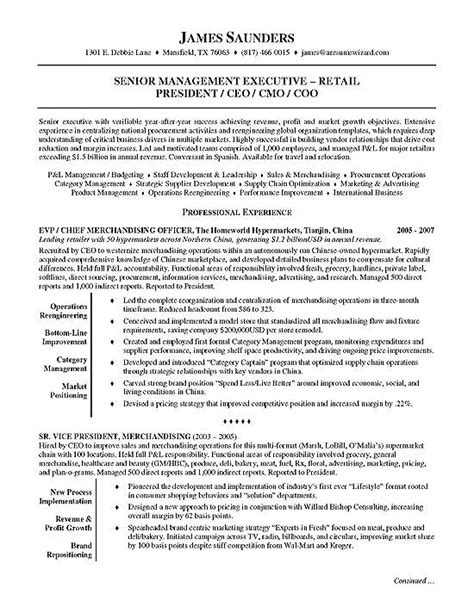 executive resume objective exles retail executive resume sle