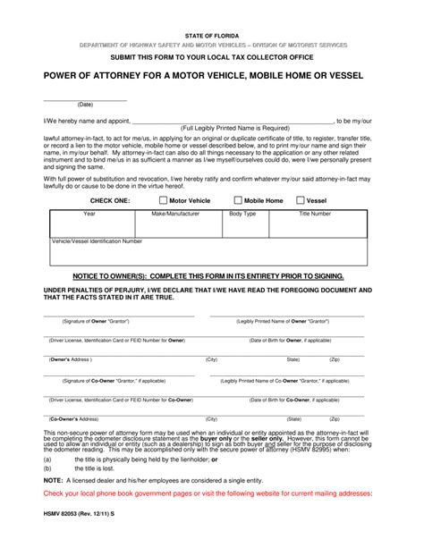 Free Florida Motor Vehicle Power Of Attorney Form Pdf Eforms Free Fillable Forms Power Of Attorney To Sell A Car Template